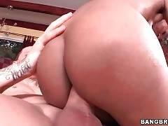 Breasted ebony babe tastes fresh cum after hot fucking.